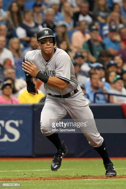 Aaron Judge of the Yankees hustles home on the hit ball during the MLB regular season game between the New York Yankees and Tampa Bay Rays on April 2...