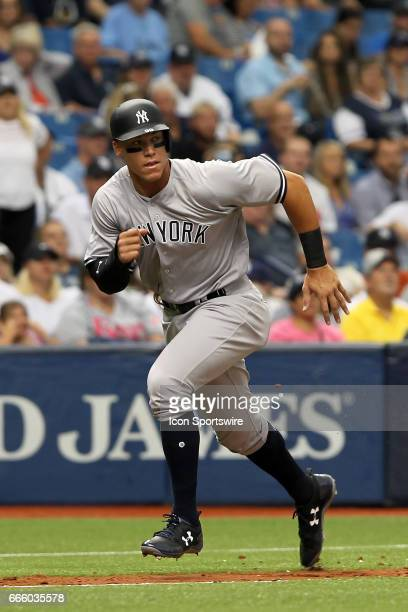 Aaron Judge of the Yankees takes off for home plate during the MLB regular season game between the New York Yankees and Tampa Bay Rays on April 2 at...
