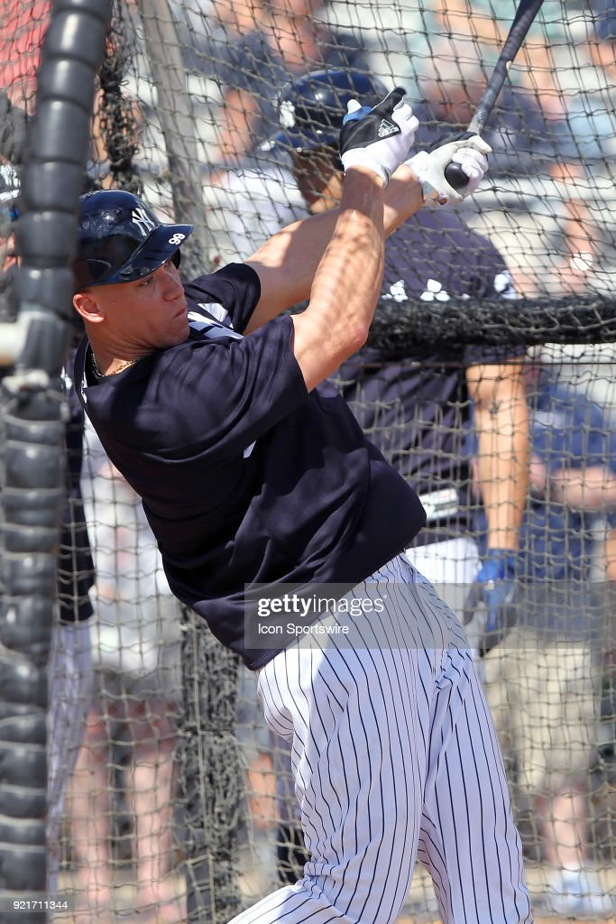 Aaron Judge (99) takes a swing during batting practice during the New York Yankees spring training workout on February 20, 2018, at George M. Steinbrenner Field in Tampa, FL.