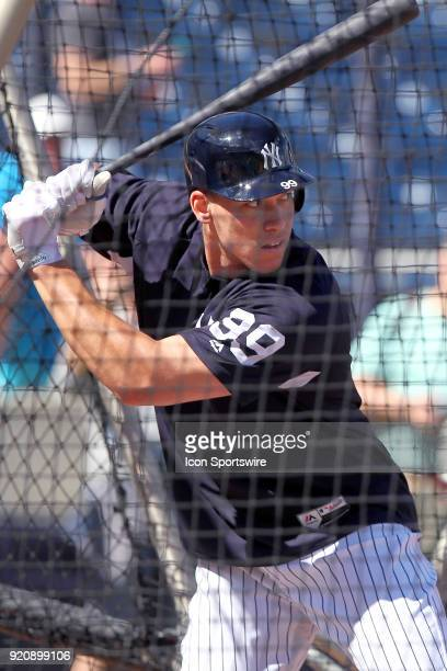 Aaron Judge waits for the pitch in the batting cage during the New York Yankees spring training workout on February 19 at George M Steinbrenner Field...