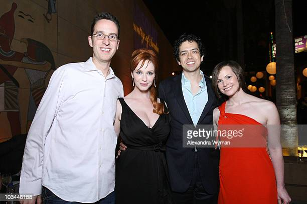 Aaron Kaplan actress Christina Hendricks actor Geoffrey Arend and Julie Kaplan attend Absolut Vodka�s ' Days Of Summer' Premiere After Party at the...