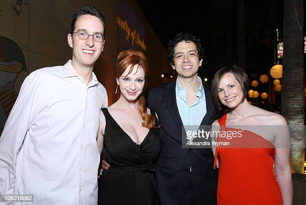 Aaron Kaplan actress Christina Hendricks actor Geoffrey Arend and Julie Kaplan attend Absolut Vodka's ' Days Of Summer' Premiere After Party at the...