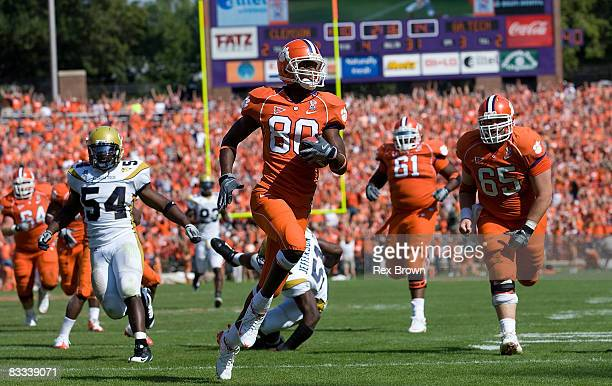 Aaron Kelly of the Clemson Tigers goes in for this touchdown against the Georgia Tech Yellow Jackets at Memorial Stadium on October 18, 2008 in...