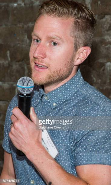 Aaron Kopp speaks at the DGA Reception during 2017 Los Angeles Film Festival at City Tavern on June 16 2017 in Culver City California