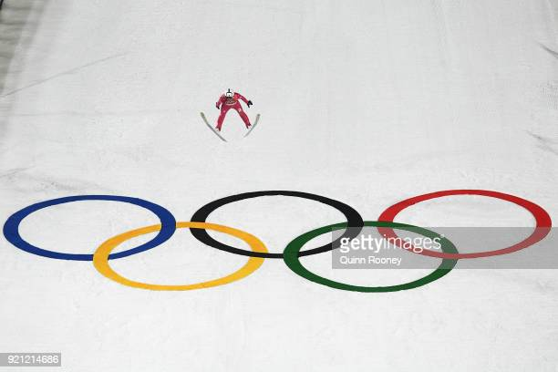 Aaron Kostner of Italy jumps during the Nordic Combined Individual Gundersen Large Hill Ski Jumping competition round on day eleven of the...