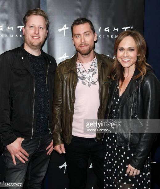 R Aaron Kunkel Lance Bass and Nikki Deloach attend the YouTube original documentary 'The Boy Band Con The Lou Pearlman Story' at ArcLight Sherman...