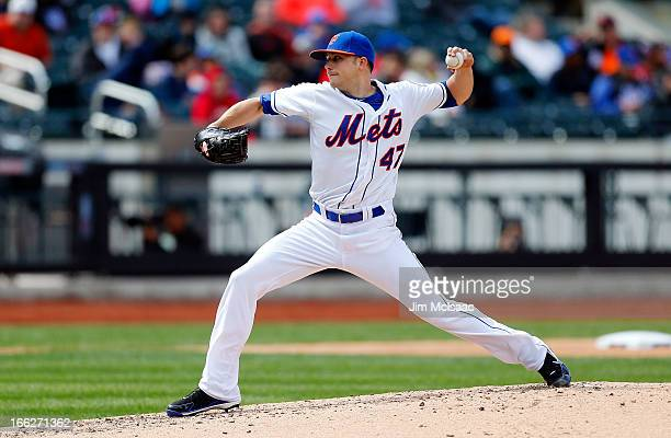 Aaron Laffey of the New York Mets in action against the Miami Marlins at Citi Field on April 7 2012 in the Flushing neighborhood of the Queens...