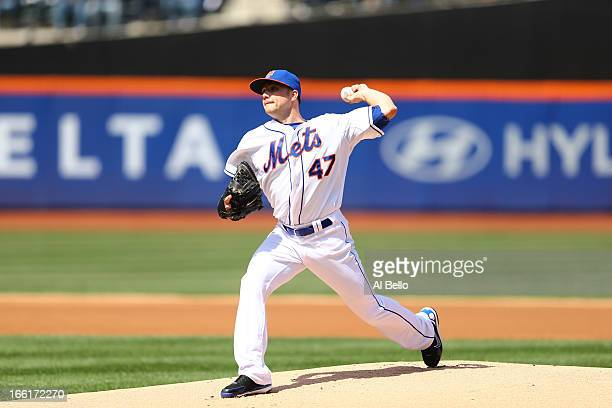 Aaron Laffey of the New York Mets pitches against the Miami Marlins during their game on April 7 2013 at Citi Field in the Flushing neighborhood of...