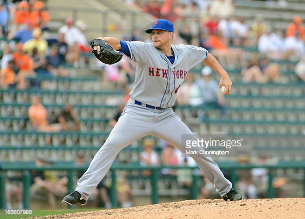 Aaron Laffey of the New York Mets pitches during the spring training game against the Detroit Tigers at Joker Marchant Stadium on March 11 2013 in...
