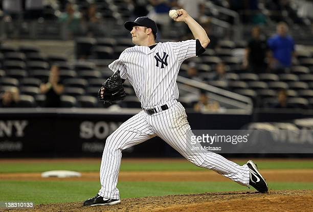Aaron Laffey of the New York Yankees in action against the Boston Red Sox at Yankee Stadium on September 25 2011 in the Bronx borough of New York City