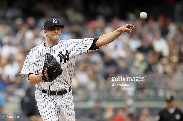Aaron Laffey of the New York Yankees in action against the Tampa Bay Rays on September 21 2011 at Yankee Stadium in the Bronx borough of New York...