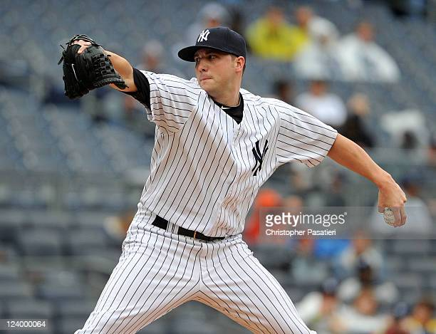 Aaron Laffey of the New York Yankees throws a pitch in the top of the seventh inning against the Baltimore Orioles and New York Yankees on September...
