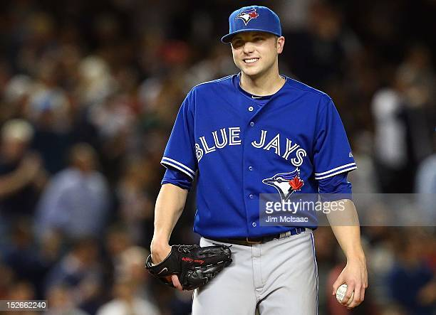 Aaron Laffey of the Toronto Blue Jays in action against the New York Yankees at Yankee Stadium on September 20 2012 in the Bronx borough of New York...