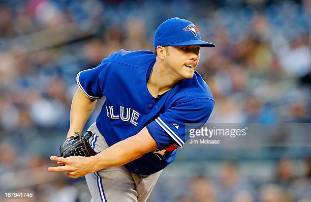 Aaron Laffey of the Toronto Blue Jays in action against the New York Yankees at Yankee Stadium on April 26 2013 in the Bronx borough of New York City...