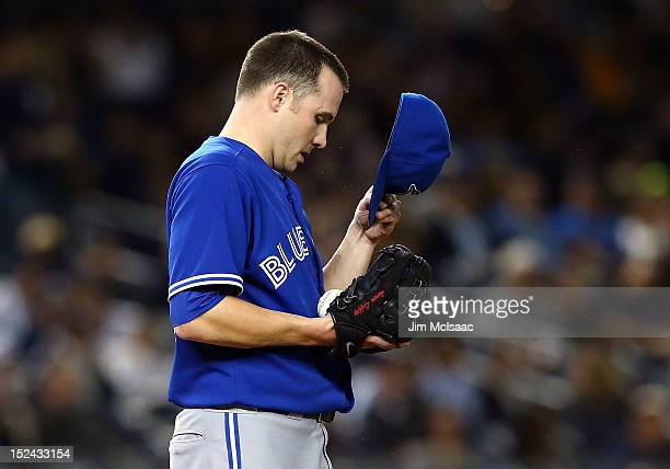 Aaron Laffey of the Toronto Blue Jays looks on during the fourth inning against the New York Yankees at Yankee Stadium on September 20 2012 in the...