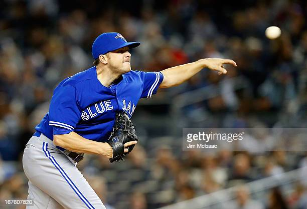 Aaron Laffey of the Toronto Blue Jays pitches against the New York Yankees at Yankee Stadium on April 26 2013 in the Bronx borough of New York City