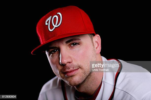 Aaron Laffey of the Washington Nationals poses for a portrait at Spring Training photo day at Space Coast Stadium on February 28 2016 in Viera Florida