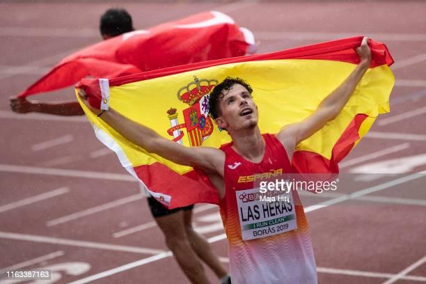 Aaron Las Heras of Spain celebrates after winning 5000m Men Final on July 21, 2019 in Boras, Sweden.