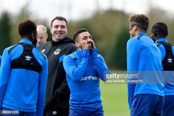 Aaron Lennon and David Unsworth in good spirits during the Everton training session at USM Finch Farm on October 24 2017 in Halewood England