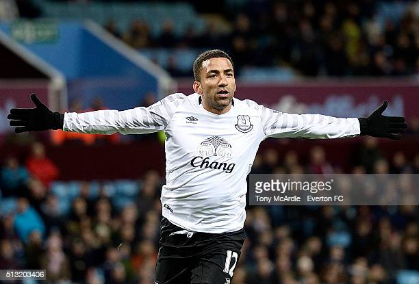 Aaron Lennon celebrates his goal during the Barclays Premier League match between Aston Villa and Everton at Villa Park on March 01 2016 in...