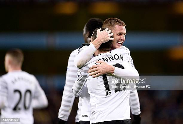 Aaron Lennon celebrates his goal with team mate James McCarthy during the Barclays Premier League match between Aston Villa and Everton at Villa Park...