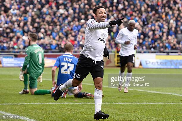 Aaron Lennon celebrates scoring his team's second goal during The Emirates FA Cup Fourth Round match between Carlisle United v Everton at Brunton...