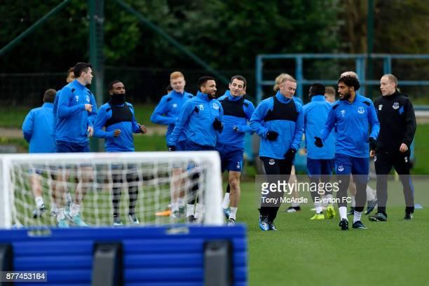 Aaron Lennon Leighton Baines Wayne Rooney and team mates during the Everton training session ahead of the UEFA Europa League match against Atalanta...