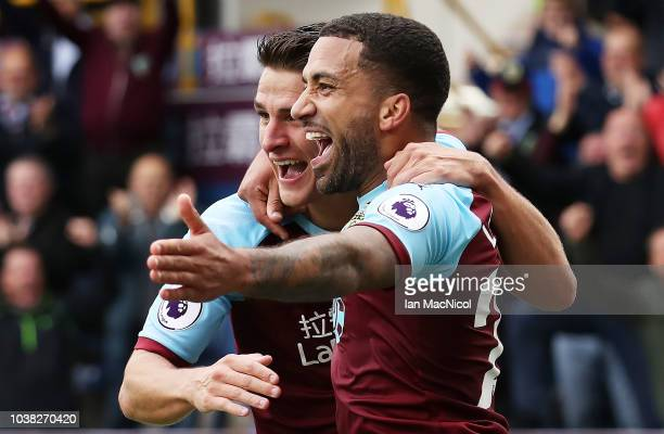 Aaron Lennon of Burnley celebrates after scores his sides second goal during the Premier League match between Burnley FC and AFC Bournemouth at Turf...