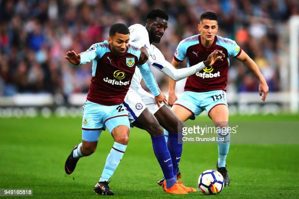 Aaron Lennon of Burnley in action with Tiemoue Bakayoko of Chelsea during the Premier League match between Burnley and Chelsea at Turf Moor on April...