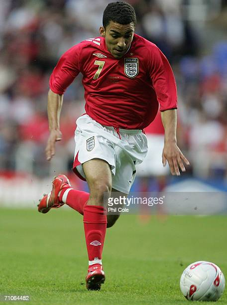 Aaron Lennon of England runs with the ball during the International friendly match between England B and Belarus at the Madejski Stadium on May 25...