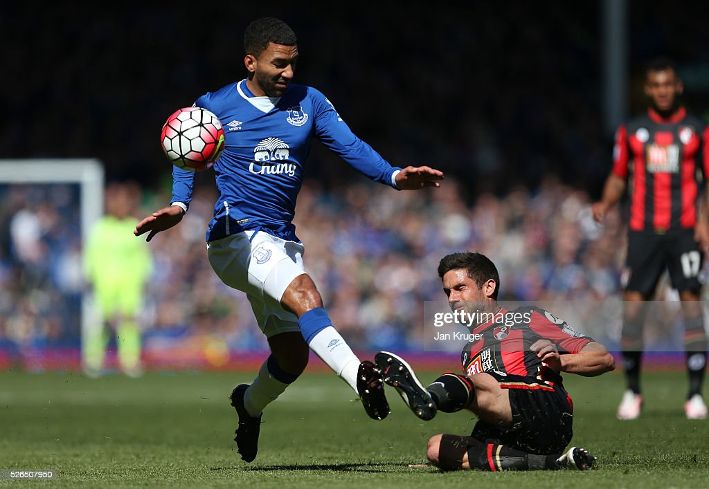Aaron Lennon of Everton and Andrew Surman of Bournemouth compete for the ball during the Barclays Premier League match between Everton and A.F.C. Bournemouth at Goodison Park on April 30, 2016 in Liverpool, England.