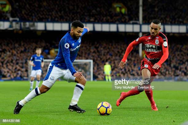 Aaron Lennon of Everton and Thomas Ince during the Premier League match between Everton and Huddersfield Town at Goodison Park on December 2 2017 in...
