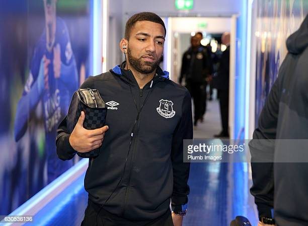 Aaron Lennon of Everton arrives at King Power Stadium ahead of the Premier League match between Leicester City and Everton at King Power Stadium on...
