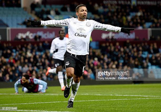 4c5819a3499 Aaron Lennon of Everton celebrates his goal during the Barclays Premier  League match between Aston Villa