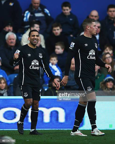 Aaron Lennon of Everton celebrates scoring his team's second goal during the Barclays Premier League match between Queens Park Rangers and Everton at...
