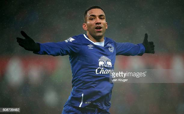 Aaron Lennon of Everton celebrates scoring his team's third goal during the Barclays Premier League match between Stoke City and Everton at Britannia...