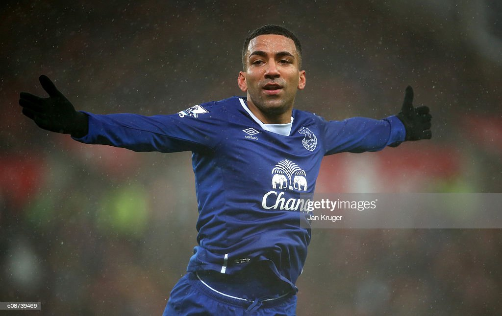 Aaron Lennon of Everton celebrates scoring his team's third goal during the Barclays Premier League match between Stoke City and Everton at Britannia Stadium on February 6, 2016 in Stoke on Trentl, England.