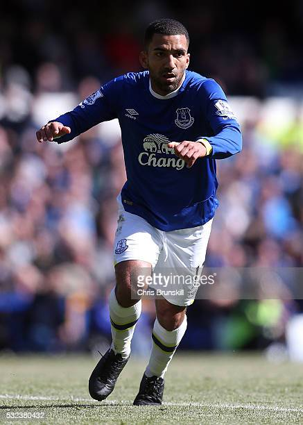 Aaron Lennon of Everton in action during the Barclays Premier League match between Everton and Norwich City at Goodison Park on May 15 2016 in...