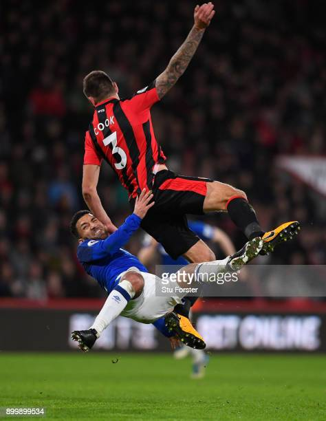 Aaron Lennon of Everton is challenged by Steve Cook of Bournemouth during the Premier League match between AFC Bournemouth and Everton at Vitality...