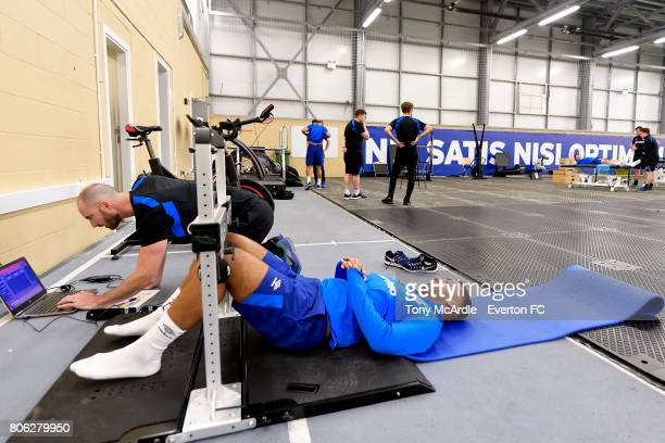 Aaron Lennon of Everton returns to training at USM Finch Farm on July 3 2017 in Halewood England