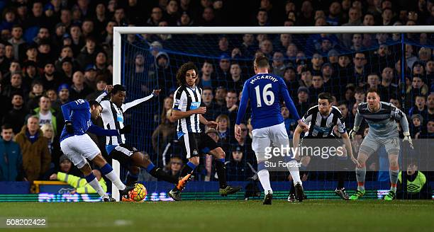 Aaron Lennon of Everton scores the opening goal during the Barclays Premier League match between Everton and Newcastle United at Goodison Park on...