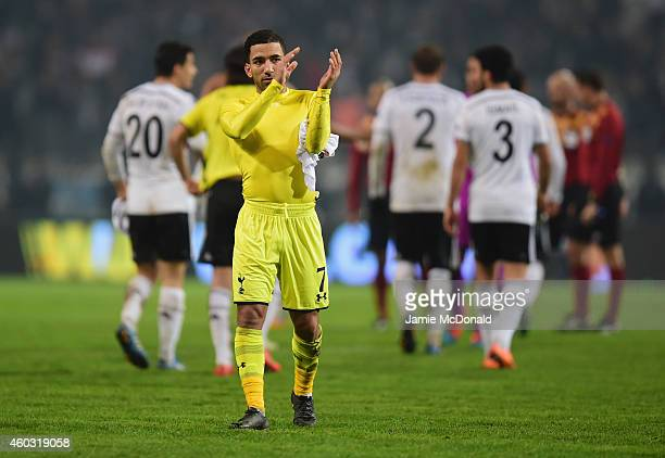Aaron Lennon of Spurs appualds the travelling fans after defeat in the UEFA Europa League Group C match between Besiktas JK and Tottenham Hotspur FC...