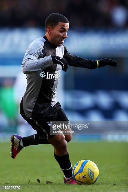Aaron Lennon of Spurs runs with the ball during the FA Cup with Budweiser Fourth Round match between Leeds United and Tottenham Hotspur at Elland...