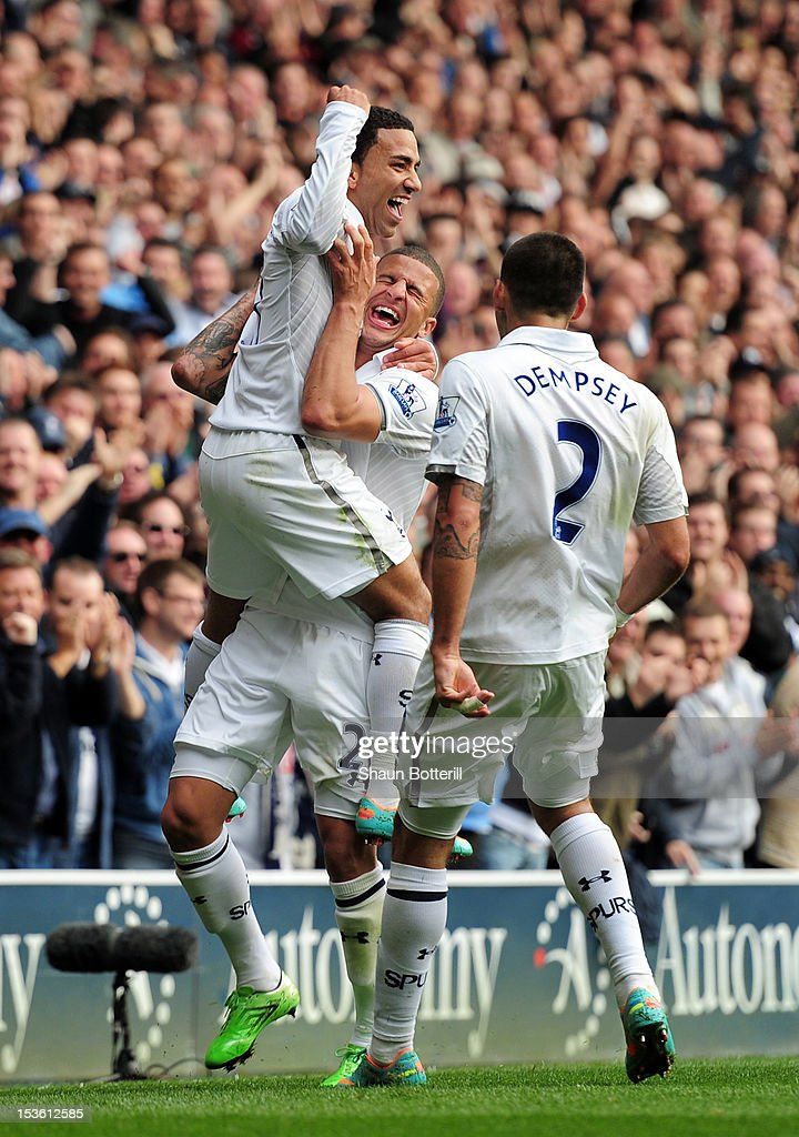 Aaron Lennon of Tottenham Hotspur celebrates scoring their second goal with Kyle Walker of Tottenham Hotspur and Clint Dempsey of Tottenham Hotspur during the Barclays Premier League match between Tottenham Hotspur and Aston Villa at White Hart Lane on October 7, 2012 in London, England.