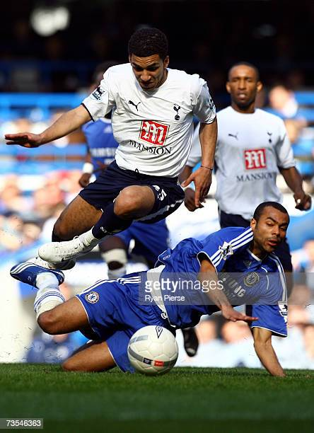 Aaron Lennon of Tottenham Hotspur competes for the ball with Ashley Cole of Chelsea during the FA Cup sponsored by E.ON Quarter Final between Chelsea...