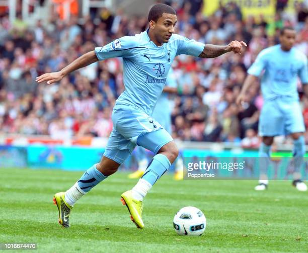 Aaron Lennon of Tottenham Hotspur in action during the Barclays Premier League match between Stoke City and Tottenham Hotspur at the Britannia...