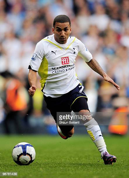 Aaron Lennon of Tottenham Hotspur in action during the Barclays Premier League match between Tottenham Hotspur and Bolton Wanderers at White Hart...