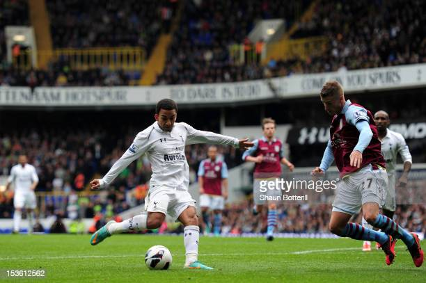 Aaron Lennon of Tottenham Hotspur scores their second goal during the Barclays Premier League match between Tottenham Hotspur and Aston Villa at...