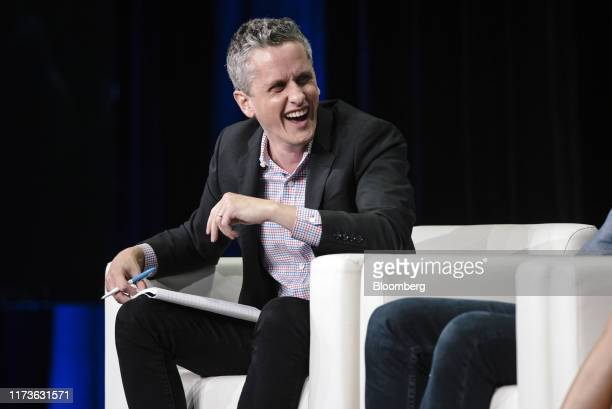 Aaron Levie, chief executive officer and co-founder of Box Inc., laughs during the BoxWorks 2019 Conference at the Moscone Center in San Francisco,...