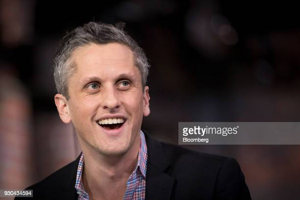 Aaron Levie chief executive officer and cofounder of Box Inc smiles during an Bloomberg Technology television interview in San Francisco California...